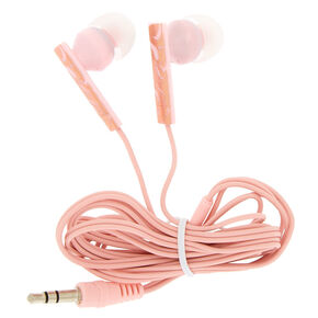 Rose Gold Marble Earbuds - Pink,