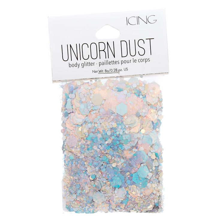 Holographic Silver Unicorn Dust Glitter Pouch,