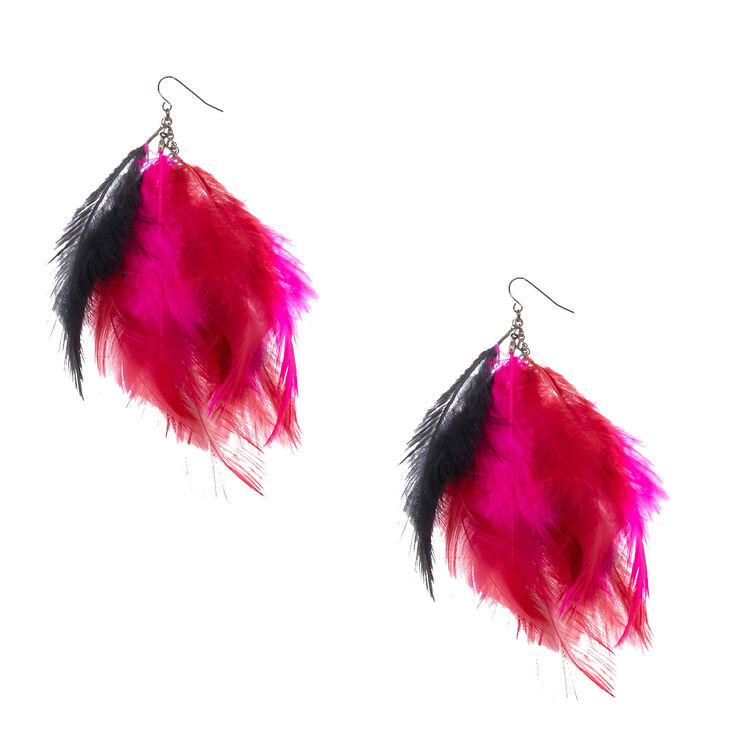 Pink & Black Feathers Drop Earrings,