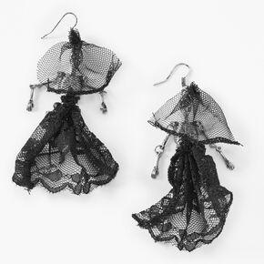 """Silver 3.5"""" Ghostly Skeleton Drop Earrings - Black,"""