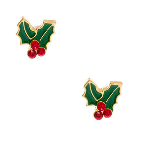 18kt Gold Plated Crystal Holly Stud Earrings,