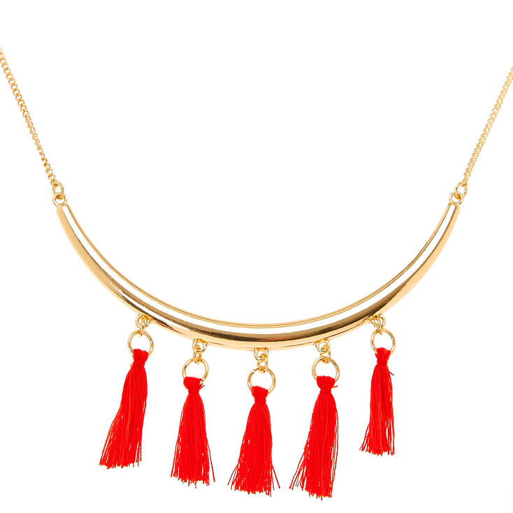Red Tassel Gold Statement Necklace,