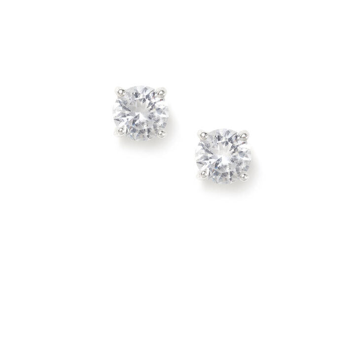 Silver Cubic Zirconia Round Stud Earrings - 6MM,