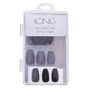 Black Glitter Instant Nails,