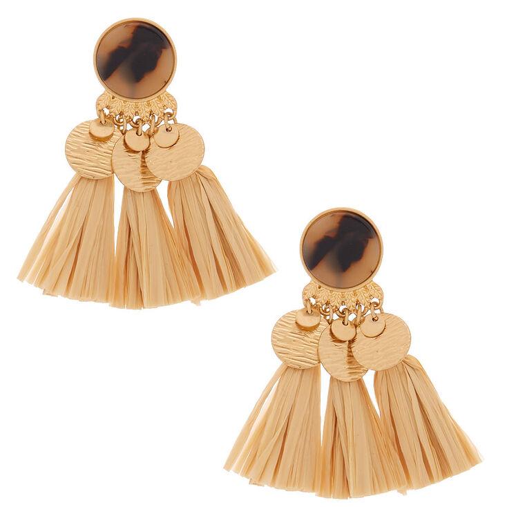 "Gold 2.5"" Tortoiseshell & Raffia Drop Earrings,"