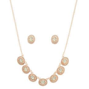 Oval Mint Stone Rose Gold Necklace,