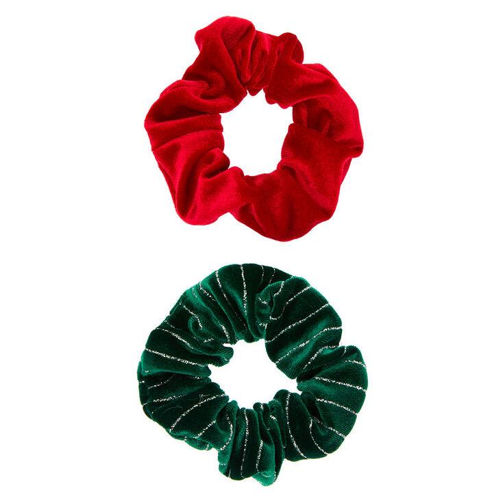 Small Christmas Velvet Hair Scrunchies - 2 Pack,