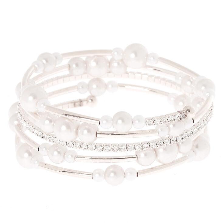 Silver Pearl Orbit Wrap Statement Bracelet,