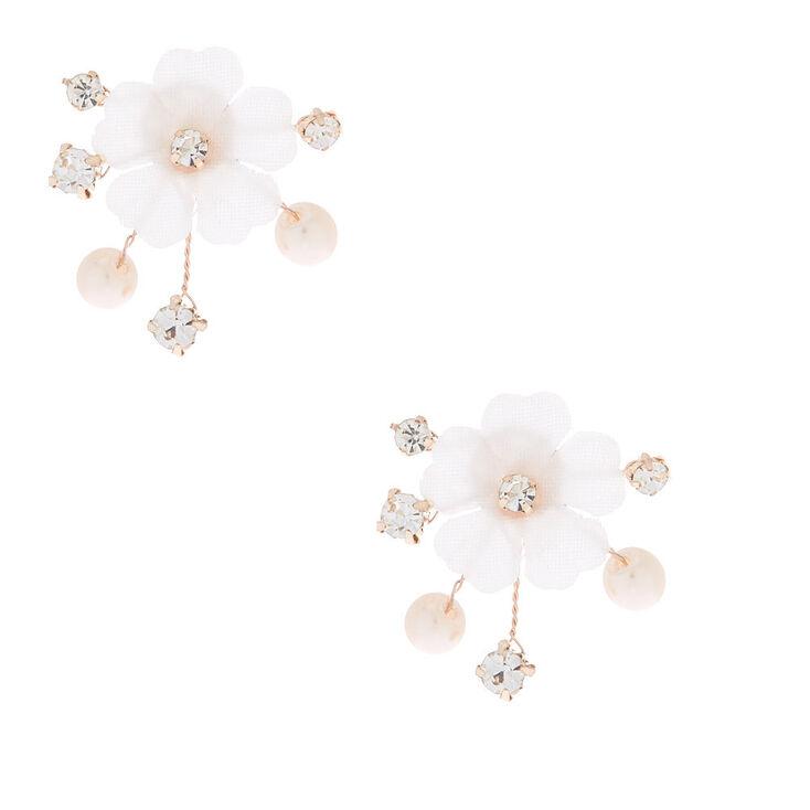 Rhinestone & Pearl Floral Vine Stud Earrings,
