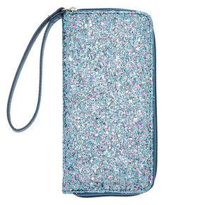 Chunky Glitter Zip Wristlet - Blue,