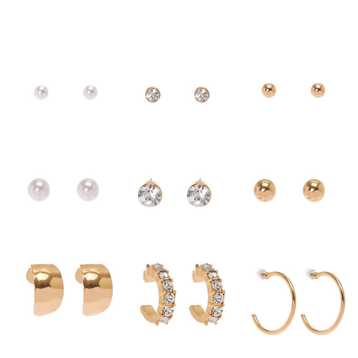 Classic Gold Tone  Stud & Mini  Half Hoop Earrings,