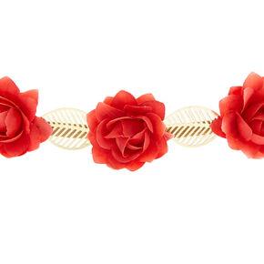 Rose Flower Crown Headwrap - Red,