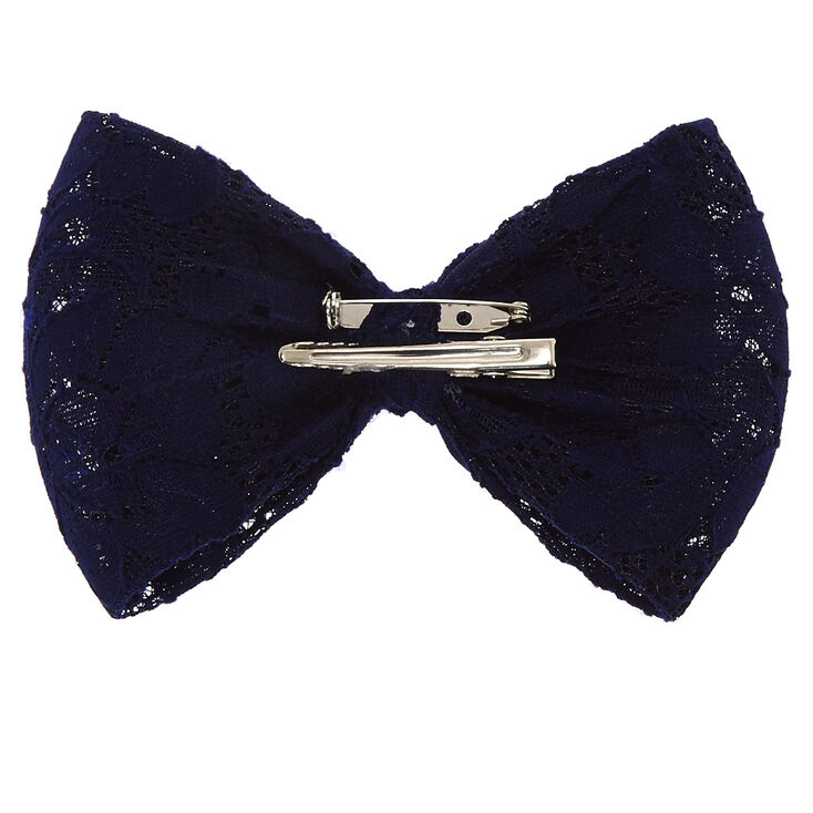 Navy Blue Lace Bow Clip,