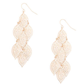 """Rose Gold 2.5"""" Leaf Chandelier Drop Earrings,"""
