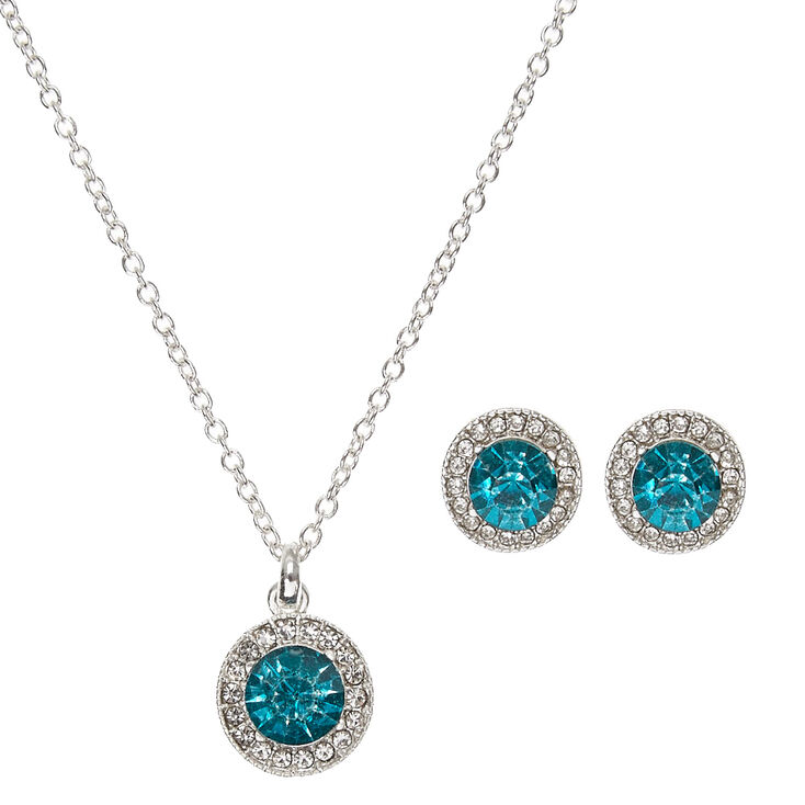 Silver & Round Blue Faux Crystal Stud Earrings & Necklace Set,
