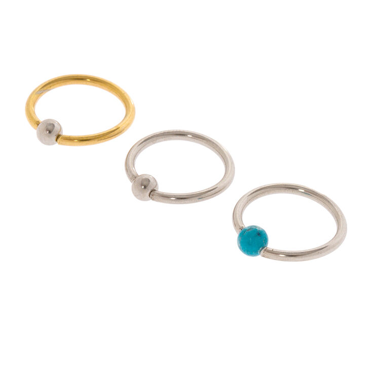 16G Silver, Gold & Turquoise Bead Cartilage Hoop Earrings Set of 3,