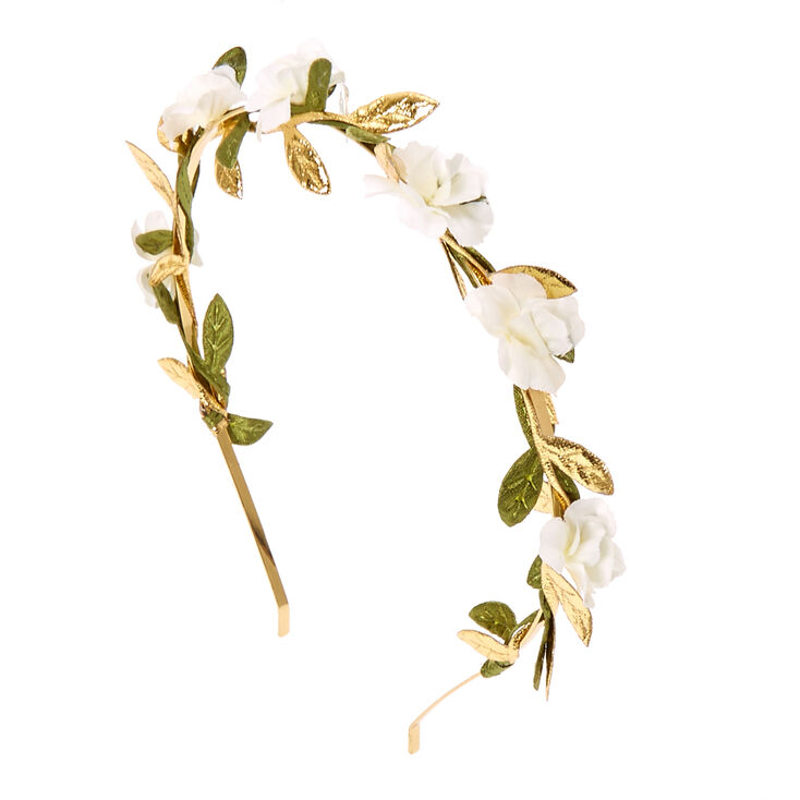 White Flower & Leaves Gold Headband,