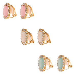 Pastel Rectangle Faux Crystal Clip-on Stud Earrings,
