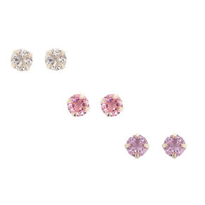 Silver Cubic Zirconia 5MM Magnetic Stud Earrings - 3 Pack,