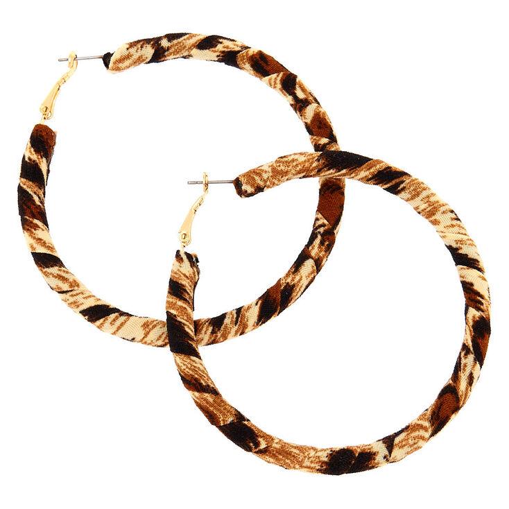 Gold 70MM Leopard Wrap Hoop Earrings,