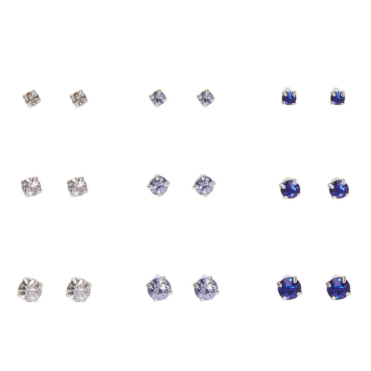 Clear, Lavender & Blue Graduated Crystal Stud Earrings,