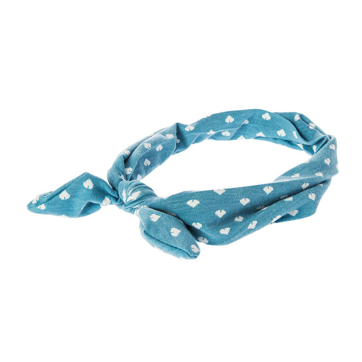 Blue with Dot Matrix Heart Print Bow Headwrap,