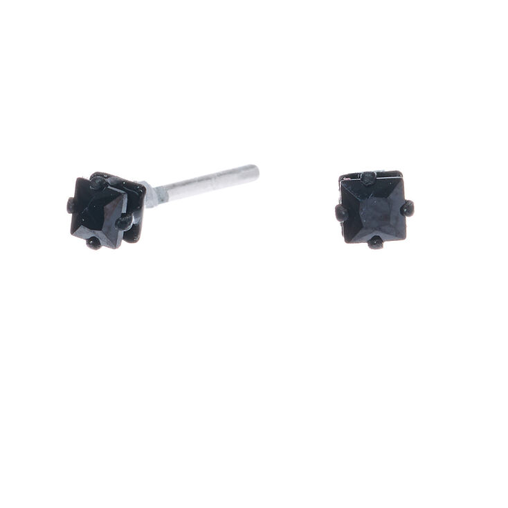 Black Cubic Zirconia 3MM Square Stud Earrings,