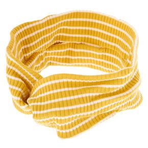 Rib Knit Stripe Headwrap - Mustard,