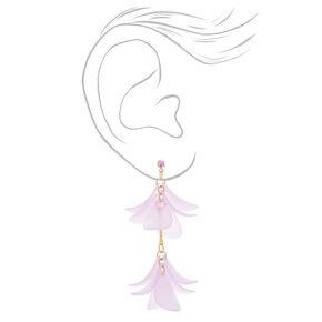 """Gold 2"""" Flower Petal Drop Earrings - Purple,"""