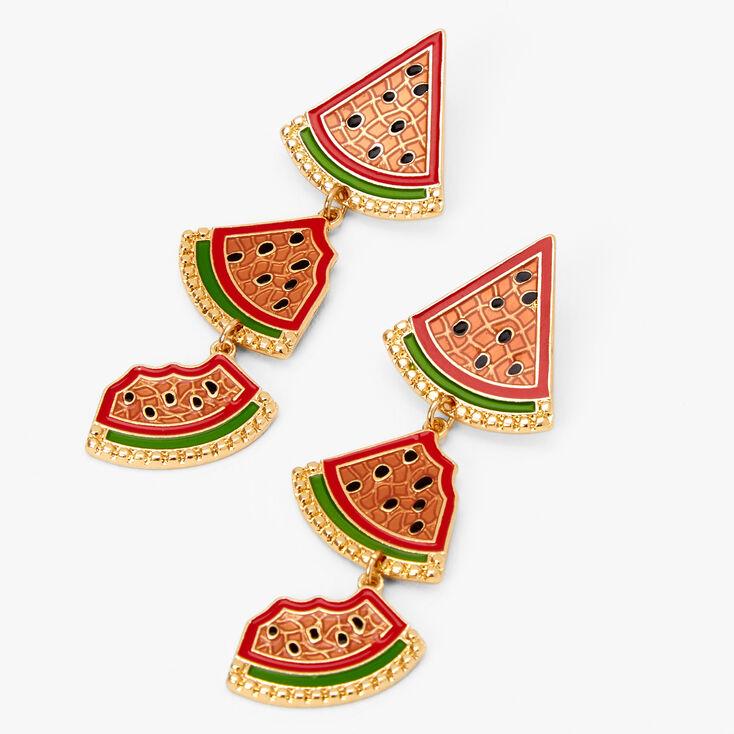"""Gold 2"""" Watermelon Linear Drop Earrings,"""