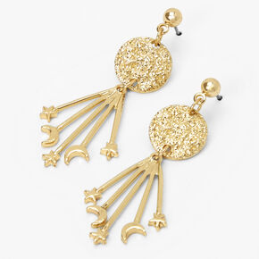 """Gold 2"""" Textured Moon and Stars Drop Earrings,"""