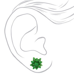Glitter Bow Stud Earrings - Green,