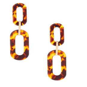 "Gold 3"" Chain Link Tortoiseshell Drop Earrings - Brown,"
