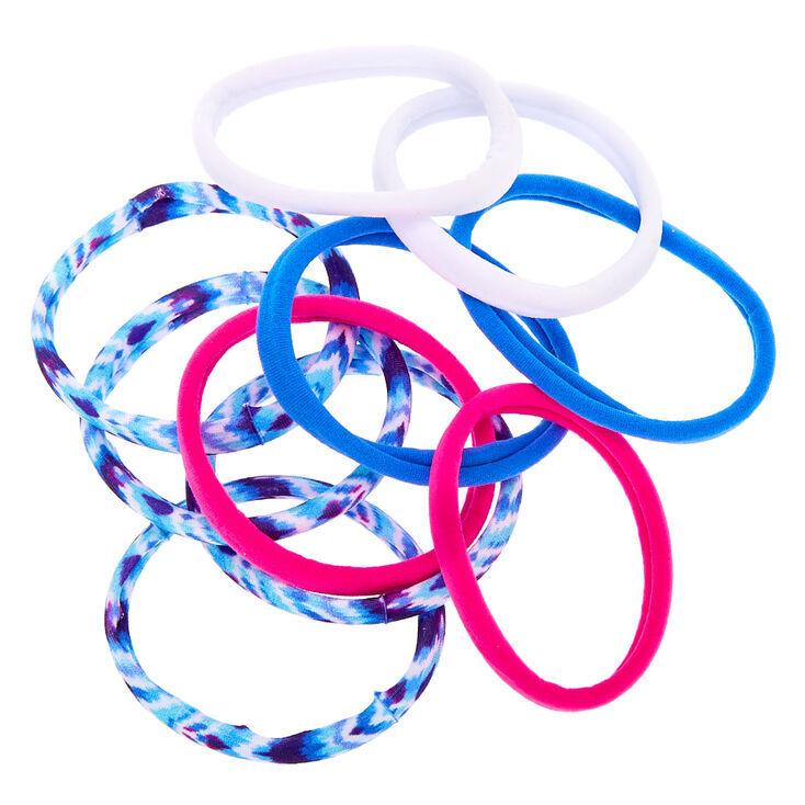 Tie Dye Retro Rolled Hair Ties - Blue, 10 Pack,