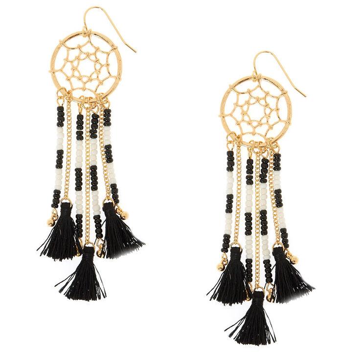 Dream Catcher Tassel Drop Earrings,