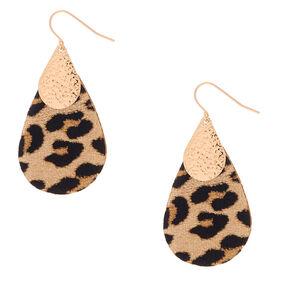 """Gold 2"""" Leopard Teardrop Drop Earrings,"""