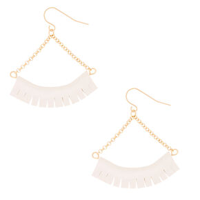 Gold Fringe Drop Earrings - White,