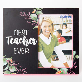 Best Teacher Ever Floral Photo Frame - Black,