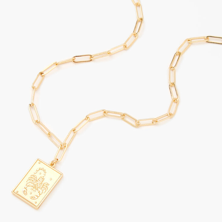 Gold Rectangle Zodiac Symbol Pendant Necklace - Scorpio,