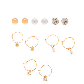 Gold Crystal Pearl Mixed Earrings - 6 Pack,