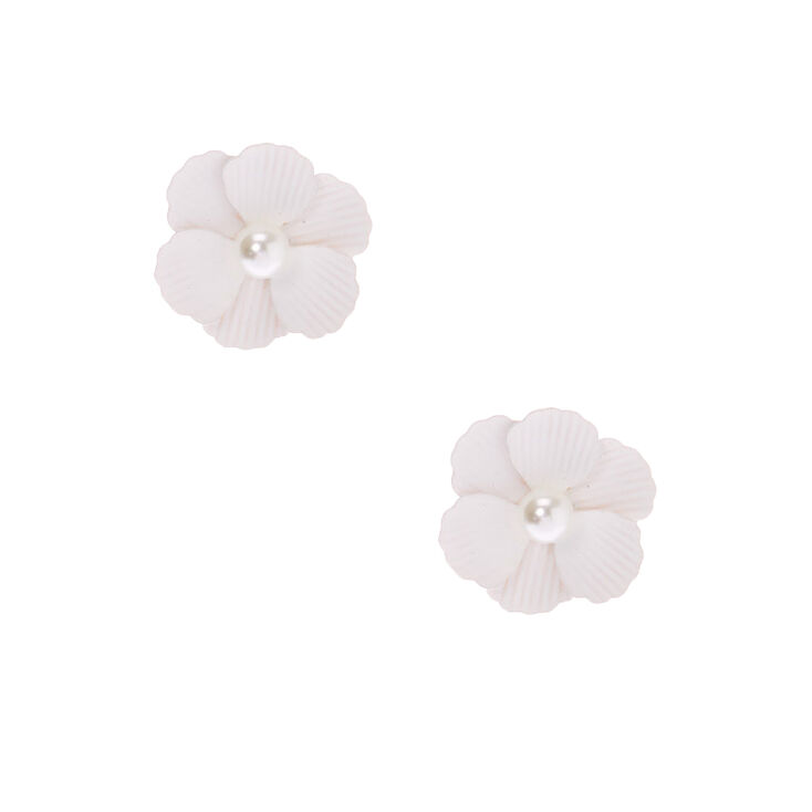 Pearl Flower Stud Earrings - White,