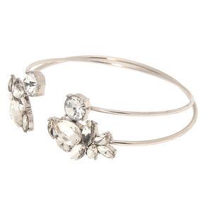 Glass Rhinestone Leaf Cuff Bracelets - Silver, 2 Pack,