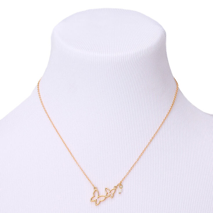 Gold Double Butterfly Pendant Necklace,