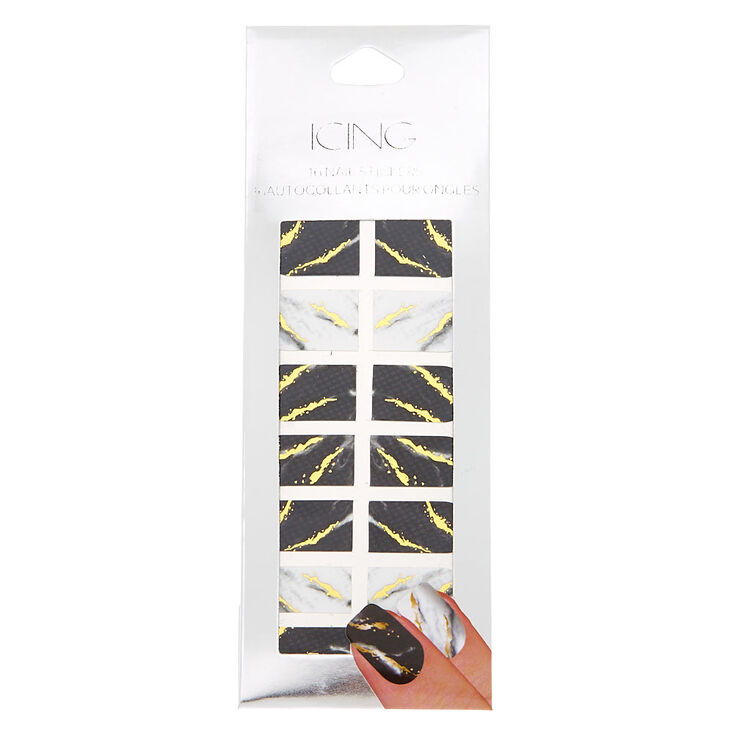 Marble Foil Nail Stickers - Black/White, 16 Pack,