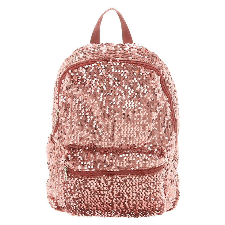 Velvet Sequin Functional Backpack - Rose Gold,