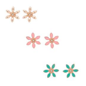 Rose Gold Flower Stud Earrings - 3 Pack,