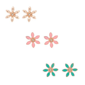 Rose Gold Flower Stud Earrings - 3 Pack,