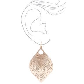 """Rose Gold 2.5"""" Filigree Teardrop Drop Earrings,"""