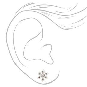 Sterling Silver Snowflake Stud Earrings - White,