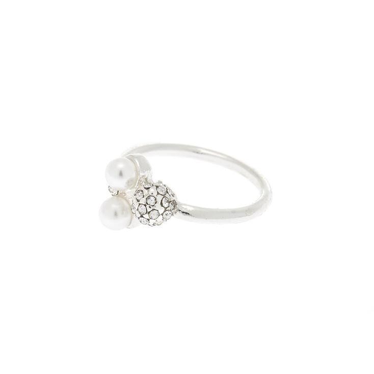 Silver Pearl & Fireball Ring,